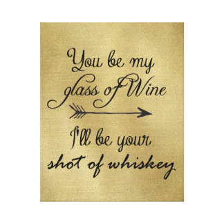 Glass of Wine Shot of Whiskey Canvas Print