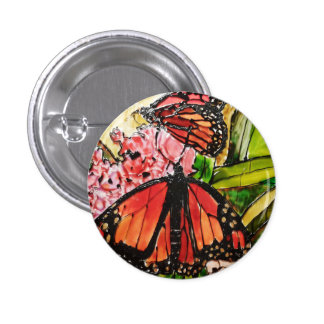Glass painted butterfly button