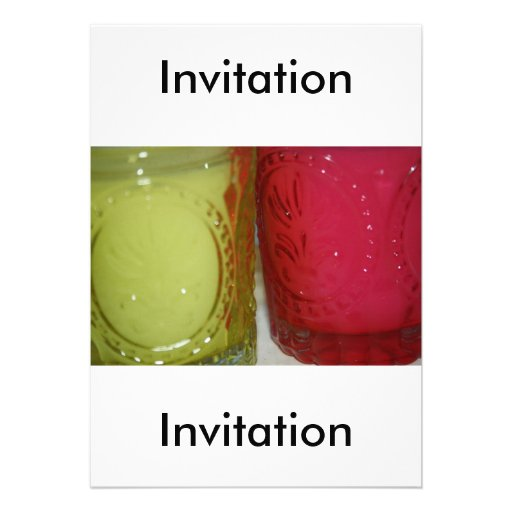 Glass Pink-Green Candle Holder  Invitation