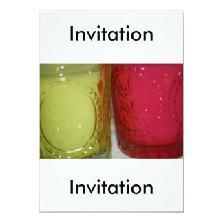 Glass Pink-Green Candle Holder  Invitation 13 Cm X 18 Cm Invitation Card