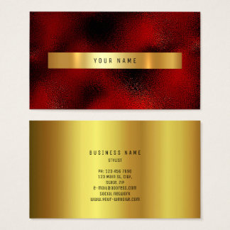 Glass Red Burgundy Wine Gold Vip Ombre Glitter Business Card