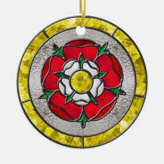 Glass Rose Ceramic Ornament