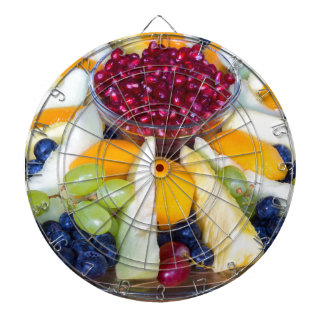 Glass scale full of various fresh fruits dartboard