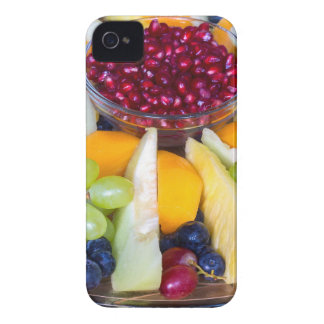 Glass scale full of various fresh fruits iPhone 4 cases