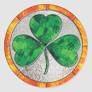 Glass Shamrock Classic Round Sticker