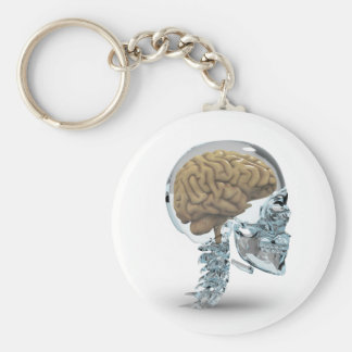 Glass skull with brain basic round button key ring