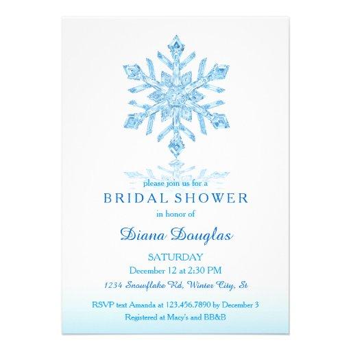 Glass Snowflake Winter Bridal Shower Invitation
