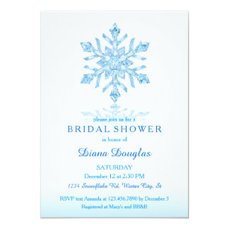 Glass Snowflake Winter Bridal Shower Invitation
