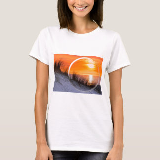 Glass sphere reflecting orange sunset T-Shirt