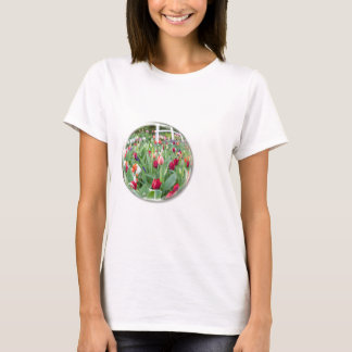 Glass sphere reflecting red tulips flower T-Shirt