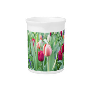 Glass sphere reflecting tulips flowers drink pitchers