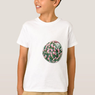 Glass sphere with red white tulips on white T-Shirt