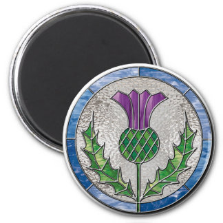 Glass Thistle 6 Cm Round Magnet
