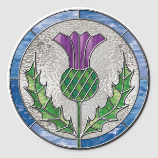 Glass Thistle Round Sticker