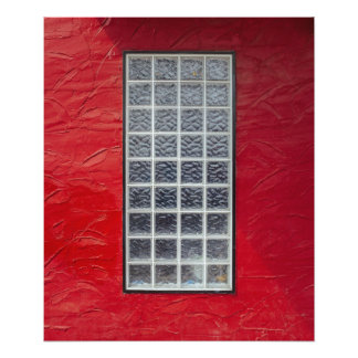 Glass Window on a Red Wall Photo Print