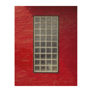 Glass Window on a Red Wall Wood Canvases