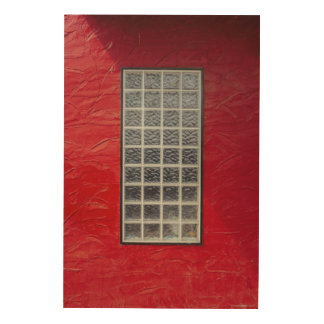 Glass Window on a Red Wall Wood Prints