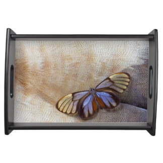 Glass-wing Butterfly Egyptian Goose Feather Serving Tray