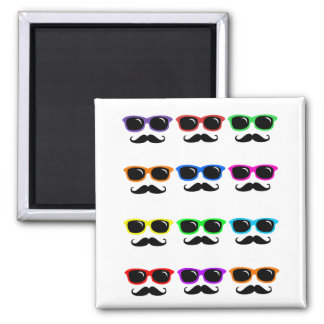 Glasses and Mustaches PoP Art Square Magnet