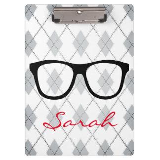 Glasses Checkered Argyle Gray White Name Clipboard