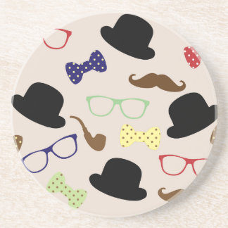 Glasses, Hats and Mustache Coaster
