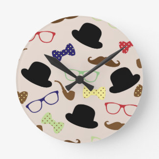 Glasses, Hats and Mustache Round Clock