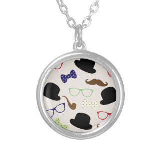 Glasses, Hats and Mustache Silver Plated Necklace