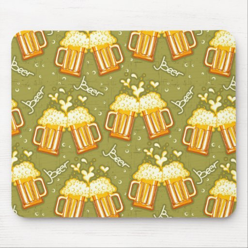 Glasses Of Beer Pattern Mouse Pad