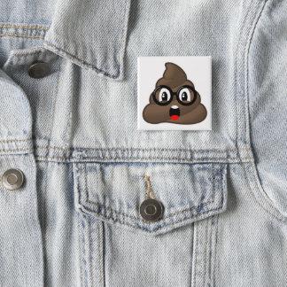 Glasses Oh Poop Emoji 15 Cm Square Badge