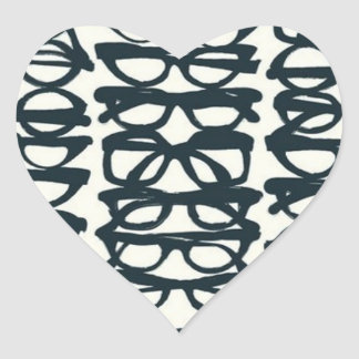 Glasses Print Heart Sticker