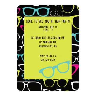 Glasses Spectacle Lime Green & Black Party Invites
