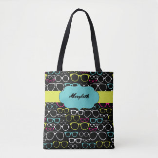 Glasses Spectacles Personalized Tote Bag in Black
