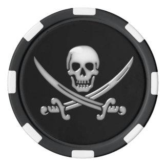Glassy Pirate Skull & Sword Crossbones Poker Chips
