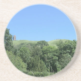 Glastonbury Tor from Chalice Well and Gardens Beverage Coaster