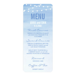 Glaucous Blue Watercolor String Lights Menu Card 10 Cm X 24 Cm Invitation Card