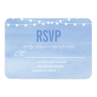 Glaucous Blue Watercolor String Lights RSVP Card
