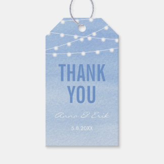 Glaucous Blue Watercolor Stringlights Thank You