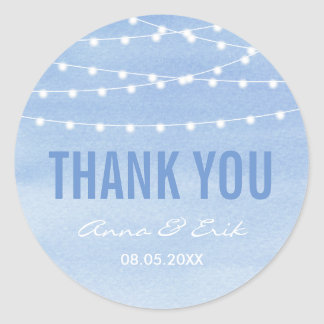 Glaucous Blue Watercolor Stringlights Thank You Round Sticker