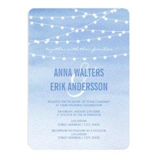 Glaucous Watercolor String Lights 13 Cm X 18 Cm Invitation Card