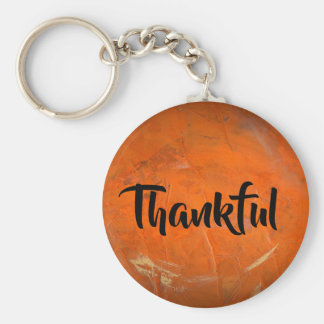 Glazed Terracotta One Word Inspiration Thankful Key Ring