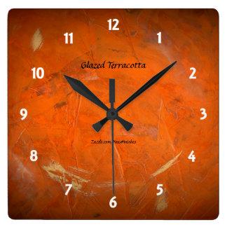 Glazed Terracotta Square Wall Clock