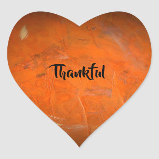 Glazed Terracotta Thankful Heart Sticker