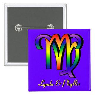 GLBT Aries & Virgo 15 Cm Square Badge