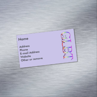 GLBT Support Rainbow Text Magnetic Business Cards