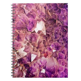 Gleaming Purple Geode Crystals Notebooks