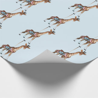 Glen Echo Giraffe - lt blue Wrapping Paper