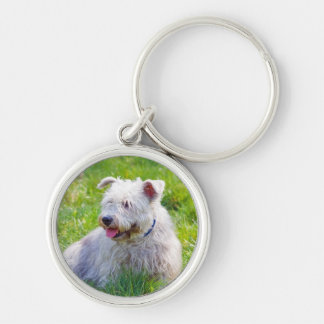 Glen of Imaal Terrier dog keychain, gift idea Silver-Colored Round Key Ring