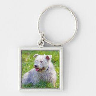 Glen of Imaal Terrier dog keychain, gift idea Silver-Colored Square Key Ring