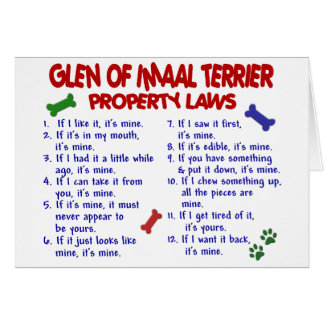 GLEN OF IMAAL TERRIER Property Laws Card