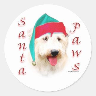 Glen of Imaal Terrier Santa Paws Classic Round Sticker